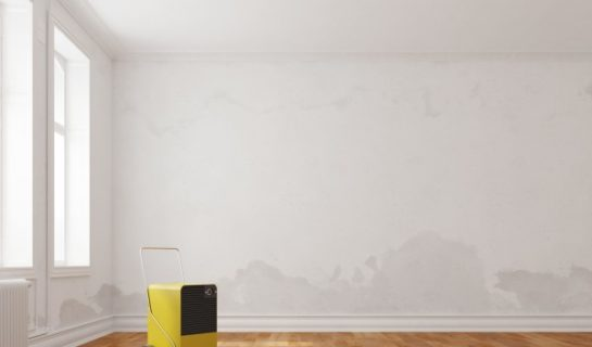 Luftentfeuchter steht in Raum mit feuchten Wänden