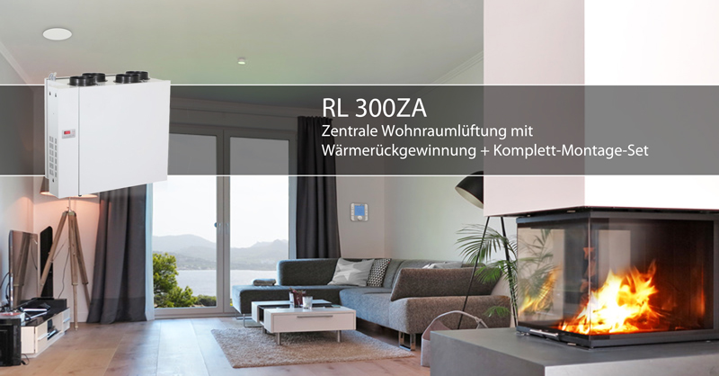 rl300za zentrale l ftungsanlage mit w rmer ckgewinnung komplett montage set f r bis zu 300m. Black Bedroom Furniture Sets. Home Design Ideas