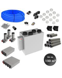 RL150ZA – zentrale Lüftungsanlage mit Wärmerückgewinnung (Komplett-Montage-Set für bis zu 150m²)