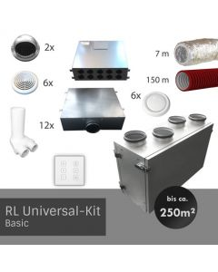 RL Zentrale Lüftungsanlage mit Wärmerückgewinnung - Universalkit (BASIC) (100 m²- 250m²   bis zu 6 Räume)